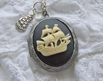 Schooner Locket - Pirate Ship - Sailing Ship - Nautical  - Steampunk Necklace - Antiqued Silver - Nautical Cameo - black and ivory