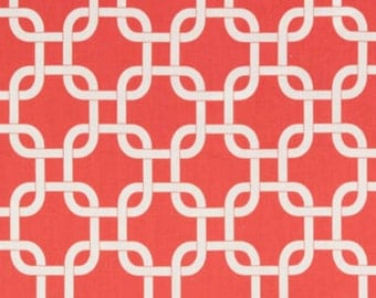 SALE - Premier Prints Fabric - Gotcha in Coral and White