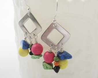Bright colors beaded dangle earrings with silver drop  - hot pink, blue, yellow, green gemstones