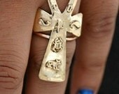 Brass Ring Ankh Style Afrocentric Jewelry
