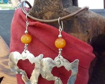Afrocentric Jewelry - Map of Africa Earrings - Sterling Silver and African Amber Stone - Also Available in Brass and Copper