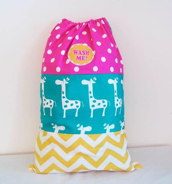 Child's Overnight Bag, Laundry Bag, Large 15 x 22 inches, Drawstring Bag, Giraffe, Polka Dots, Chevron Pattern
