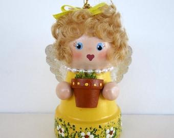 Garden Angel Flowerpot Bell Ornament