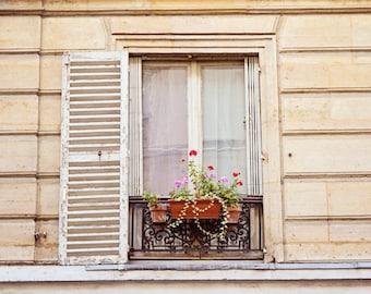 Paris Photography, Paris Window Flowerbox, Paris Decor, Paris Print, French Country Wall Art Home Decor - Parisian Window
