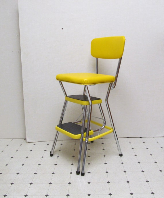 Vintage Cosco Kitchen Stool Step Ladder Yellow And