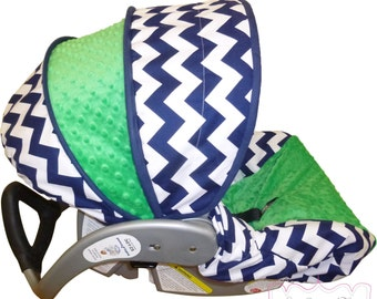 Car Seat Cover Navy Chevron with Kelly Green Infant