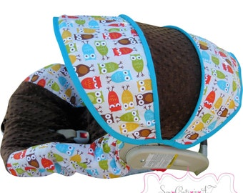 Car Seat Cover Urban Owls with Brown Infant - Moves To Toddler