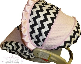 Infant Carseat Cover Black and White Chevron with Light Pink