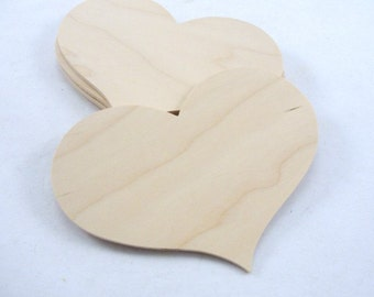 "5 Large wooden 6"" country hearts unfinished"