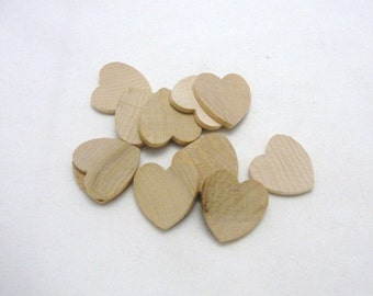 """12 Wooden hearts 1 inch (1"""") wide 1/8"""" thick unfinished wood hearts diy"""