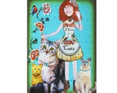 custom cat portrait, cat woman, leopard, turquoise, kitten, pet portrait, tagt team, shabby chic, home decor, cat lover, cat art