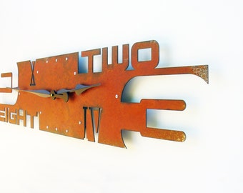 Outnumbered V, Extra Large Wall Clock, Rustic Wall Clock, Unique Wall Clock, Modern Home Decor, Steampunk Metal Art, Industrial, Giant, Huge
