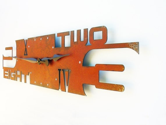 Outnumbered V Modern Wall Clock (Extra Large Rusted)