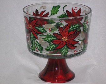 Hand Painted trifle Bowl with Poinsettias