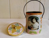 Vintage Portrait Tin - Cherry Basket Canister - House Of Confectionery