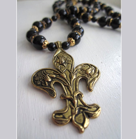 Black & Gold Fleur De Lis Necklace - Onyx Beads Large Fleur Charm Centerpiece New Orleans