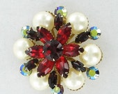 Ruby Red Navette, White Pearl Bead and Siam AB Rhinestone Round Brooch Pin