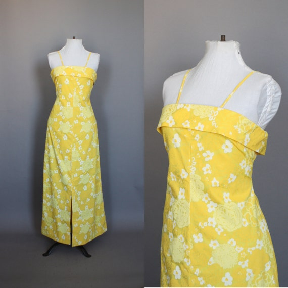 Vintage Maxi Dress 60s 70s Vintage 1960s 1970s Liza by Lilly Pulitzer Yellow Floral Summer Dress Garden Party Dress M L
