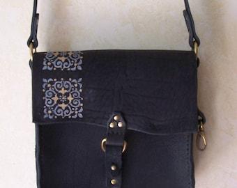 Fancy Black and Bronze Leather  Handbag / Purse Very Dressy. long adjustable strap