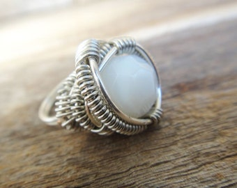BLISS in silver.  Milky white fire polished bead generously wire wrapped in silver wire, cocktail ring  (r47)