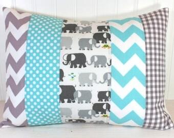 Pillow Cover, Unisex Nursery Decor, Boy or Girl Room, Throw, 12 x 16 Inches, Nursery Pillow Cover, Elephants Gray Aqua Blue Chevron Gingham