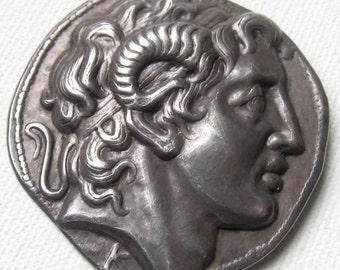 Vintage silver Alexander the great as Zeus Ammon Brooch