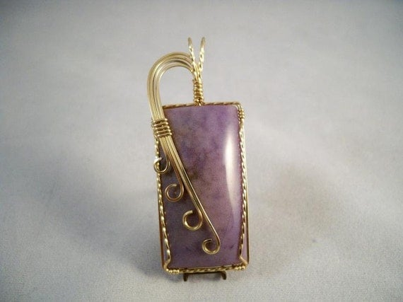 Wire Wrapped purple Burro Creek Agate Pendant in 14k Gold-Filled Wire
