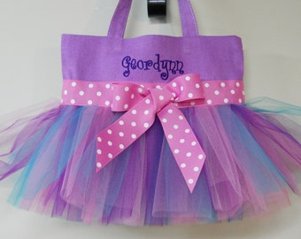 Embroidered Dance Bag, Purple Tote Bag, dance bag, Personalized Tutu Tote Bag, Wedding tote bag, flowergirl gift, ballet bag, TB249 CH