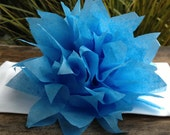 SALE (15) Pacific Blue Paper Dahlia Napkin Rings. Perfect for weddings, receptions, baby showers, decor, birthdays. Tissue paper pom poms.