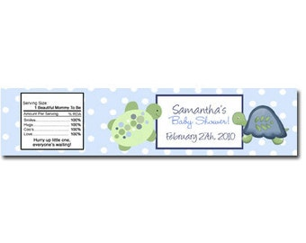 Turtle Reef Personalized Candle Stickers or Baby Jar stickers, DIY Favor Labels Print your own