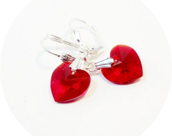 Red Earrings, Red Crystal  Earrings, Small Earrings, Heart Earrings, Red Heart Earrings, Crystal Earrings Red, July Birthstone, Ruby Red