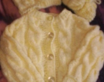 "Hand Knit Baby-Infant ""Custom Made"" Sweater sets. U Choose Color and Size"