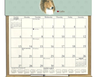 2016 CALENDAR - Collie Dog Wooden  Calendar Holder filled with a 2016 calendar & an order form page for 2017.
