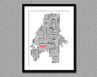 Atlanta Map Typography Map Poster Print