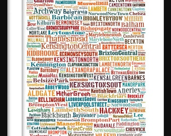 London Map - Typography Neighborhoods of London Poster Print