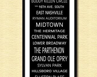 "Nashville Subway Sign Bus Scroll 12"" x 36"" Poster Print"