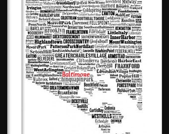 Baltimore Map Typography Map Poster Print