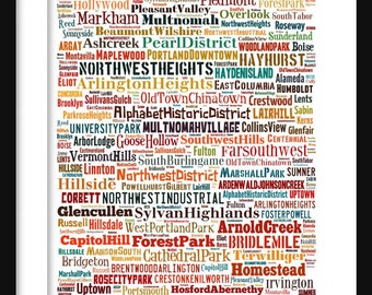Portland Oregon Map - Typography Neighborhoods of Portland Poster Print