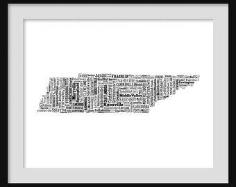 Tennessee Map Typography Poster Print