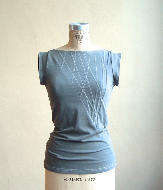Top Organic Cotton Jersey Shale Gray, short sleeves, eco fashion, modern style- made to order, one of a kind