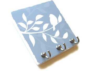 Baby Blue Key Hook Decorative Tile, Bird Wall Décor Key Holder, Key Rack, Jewelry Organizer, Nature (32)