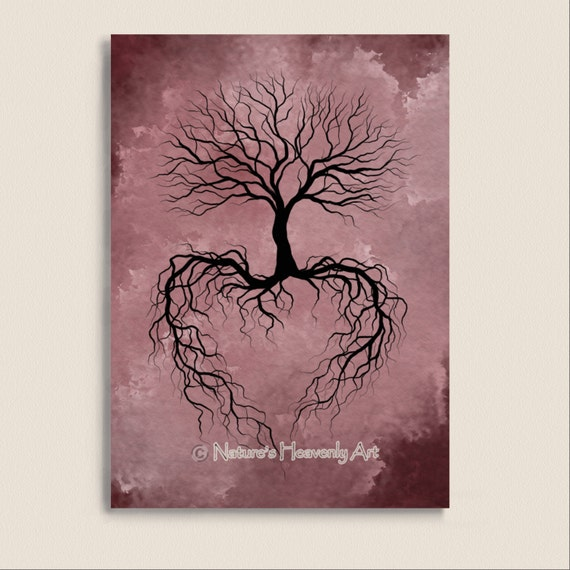 Tree Root Wall Decor : Pink decor winter bare tree wall art print burgandy