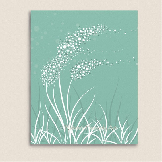 Teal Green Wall Decor : Blowing grass abstract living room wall art by