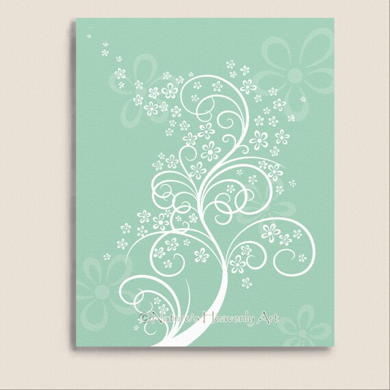 Teal Green Wall Decor : Green teal wall d?cor customized flowering by