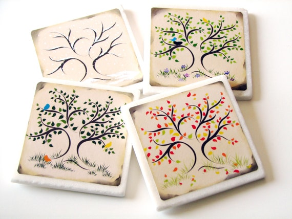 4 Season Oak Tree Ceramic Tile Coasters, Four Season Table Decor, Abstract Art, Summer, Spring, Fall, Winter, Home Decor Accessory