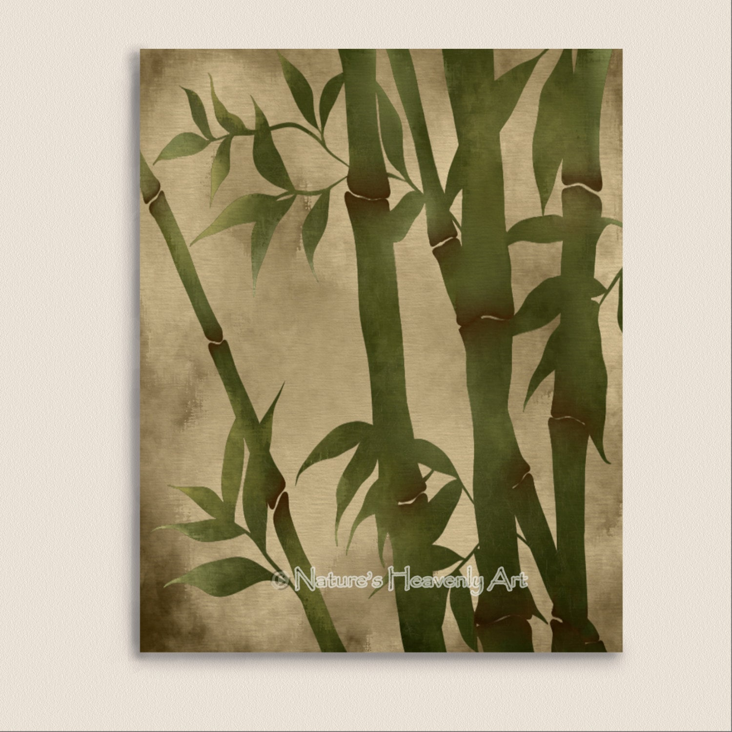 Bamboo wall art print 8 x 10 green grass asian home decor for Bamboo wall art