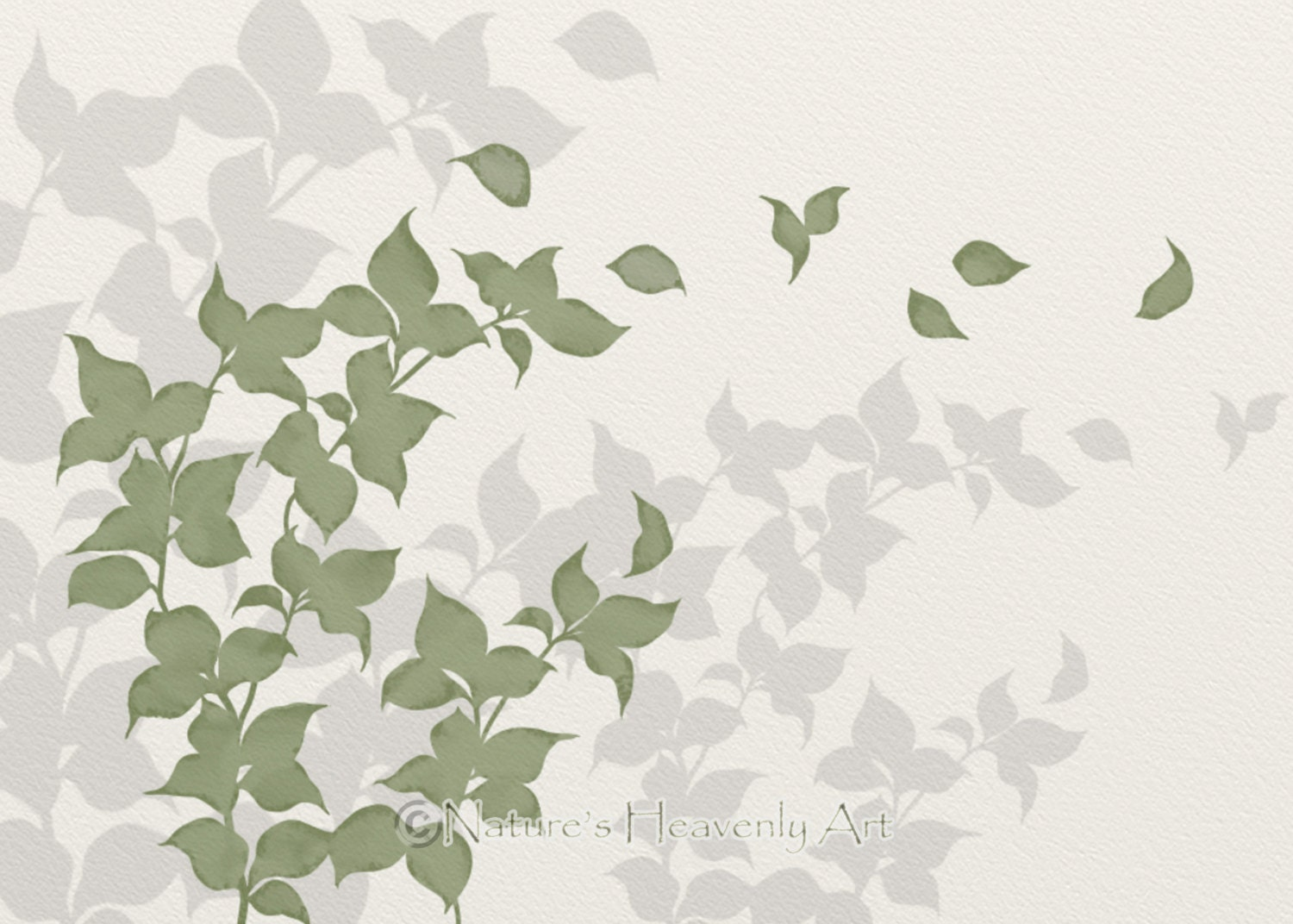 Wall Art Of Leaves : Green leaf wall art print nature inspired home decor