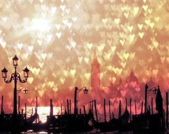 Venice Love, Italy Photograph, Hearts, 8x10 Print, Warm, Red, Travel Photography