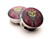 Screw On Plugs - Reaper Owl Picture Plugs gauges - 16g, 14g, 12g, 10g, 8g, 6g, 4g, 2g, 0g, 00g, 7/16, 1/2, 9/16, 5/8, 3/4, 7/8, 1 inch