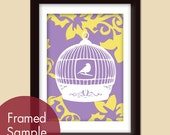 Antique Bird Cage (B) 5x7 Art Print (Imperial Violet and Sunsine) (Customizable Colors) Buy 3 get one Free